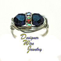 DWJ0393 Stunning Czech Glass Faceted Indigo Orchid Duet Silver Plated Wire Wrap Ring All Sizes