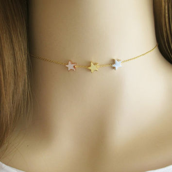 Star Choker Necklace, Three Star Choker, Chain Choker, Sisters Necklace, Gift for Sisters or Friend, Astronomy Layering Necklace / N319