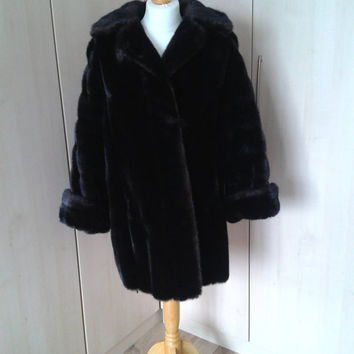 Vintage French brown faux fur coat
