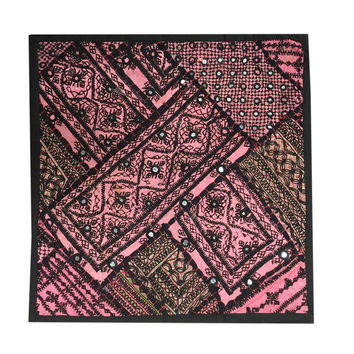 Pink Indian Throw Pillow Cover Vintage Kutch Embroidered Tapestry Wall Hanging