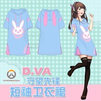 [STOCK] Game OW D.VA rabbit Hoodie Dress Summer Cotton T-shirt Dress M-L animation Cosplay Top New 2017 free shipping