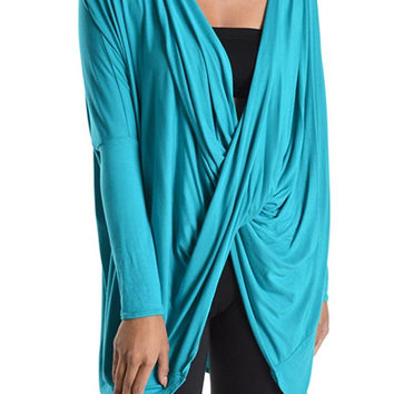 82 Days Women'S Rayon Span Twisted Front Loose Fit Jersey Long Sleeves Top - Solid