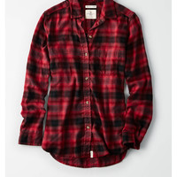 AE PLAID BOYFRIEND BUTTON-DOWN SHIRT, Red