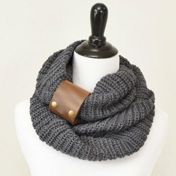 Knit Infinity Scarf with Leather Cuff