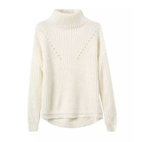 White Turtleneck Asymmetrical Knit Sweater