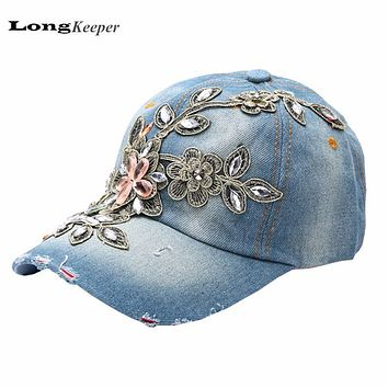 LongKeeper Ladies' Retro Distressed Wearing Baseball Cap Women Snapback Hats Crystal Rhinestone Floral Cowboy Van Gorras B81