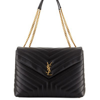 Saint Laurent Loulou Monogram Large V-Flap Chain Shoulder Bag - Lt. Bronze Hardware