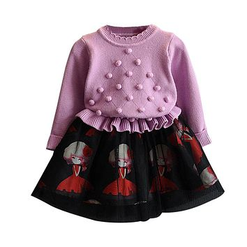 Girl Long Sleeves Dress Ruffle Raglan Knitted Patchwork Sweater Lace Dresses One Piece for Girls Winter Clothes