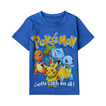 Boys T- shirts Kids Tees 2016 Cartoon Pikachu Charmander Pokemon Boys Clothes Children Tops Cotton Pocket Monster Baby Clothing