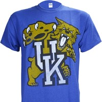 UK Big Cat on a Antique Heathered Blue T Shirt
