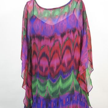 Trina Turk- Multi-Color Print Silk Caftan Dress Sz 6 Nice!