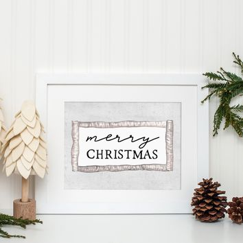Merry Christmas Rustic Wall Art Print