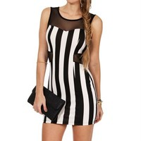 Black/White Scuba Striped Dress