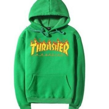 Thrasher2017 autumn and winter flame hooded sweater fashion wild men and women couple hooded sweater Green