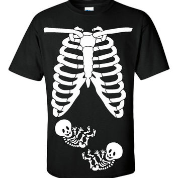 Pregnant Baby Skeleton TWINS Rib Cage T-Shirt Funny Halloween Costume Baby Shower Party Maternity Humor TShirt Tshirt S-3XL UNISEX Ladies T