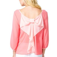 Contrast Bow Back Blouse