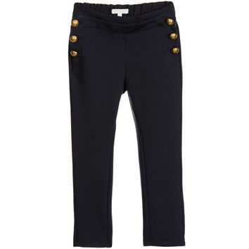 Chloe Girls Fancy Navy Blue Jersey Cotton Pants (Mini-Me)