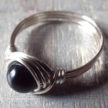 Black Tourmaline Ring, Black Stone Ring, Tourmaline Jewelry, Wire Wrapped Ring, Simple Ring, Thumb Ring, Stone Rings, Boho Rings, Gothic