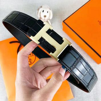 Hermes Fashion New H Letter Buckle Couple Leather Leisure Belt Black