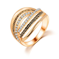 Size 6 Hot Kpop Spiral Rings Elements Crystals bridal sets Finger Rings For Women  Fashion Jewelry Accessories PT32