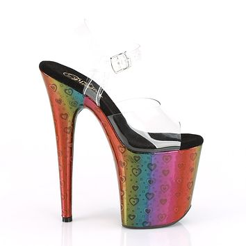 "Flamingo 808WR Rainbow Hologram Platform Sandals Shoe  8"" High Heels - Hearts"