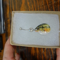 BASS Fish Fishing Lure Blade Navel Belly Button Ring for the Country Fishing Girl