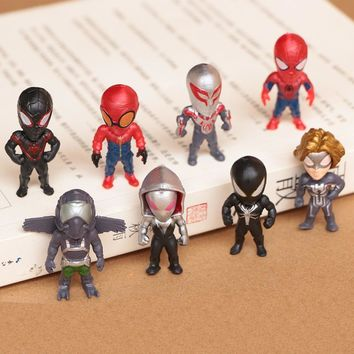 8 Pcs/Lot The Avengers Marvel Superheros Spider Man Homecoming Mini Action figures toy