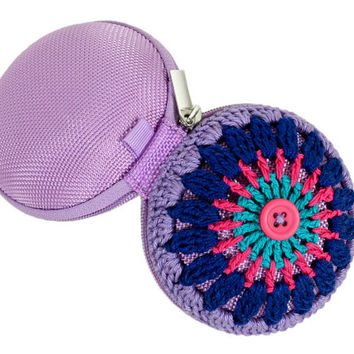 Crochet Mandala Bag - Coin Purse - Turquoise, Pink, Blue, Violet, Pink Button, Lilac Base