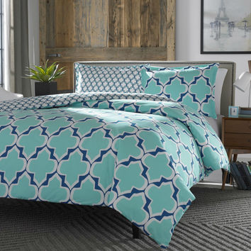 Full / Queen 100% Cotton Reversible Comforter Set in Teal White Blue Lattice Pattern