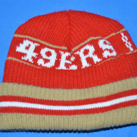 80s San Francisco 49ers Striped Beanie Winter Hat