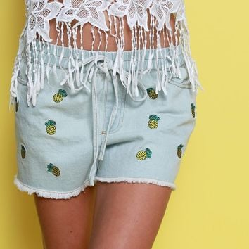 Getting Warmer Denim Shorts - Blue Print