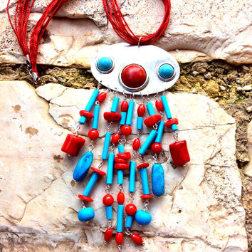 Handmade Sterling Silver Statement Boho style Short Necklace with Turquoise, Howlite and  corals, beads, tubes, cabochons and Silk cord