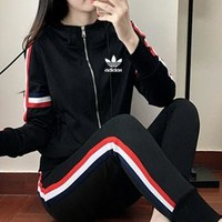 """Adidas"" Women Sport Casual Stripe Zip Cardigan Hooded Long Sleeve Trousers Set Two-Piece Sportswear"