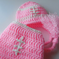 Pink Football Baby Girl Hat and Diaper Cover - Set