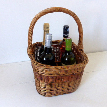 Vintage French Wine Bottle Carrier