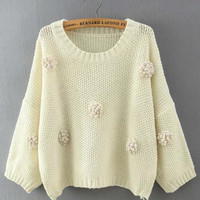 Floral Dots Knitted Cropped Sweater - 2/3 Sleeve Length