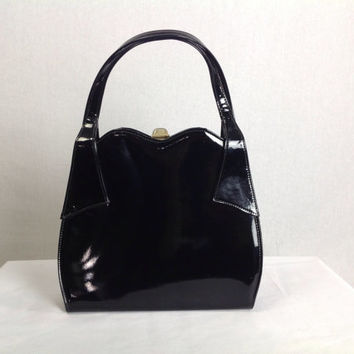 Vintage 1950's Black Patent Bag Top Handle Kelly Purse