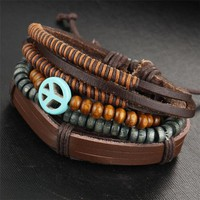 Unisex Leather Bracelet  Boho Rock Bead Bracelets
