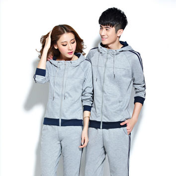 2017 Spring New Tracksuit Women Hoodies 2 piece Set Gray/royal Blue (hooded Sweatshirt+pants) Cotton Suits Womens Sporting Suit