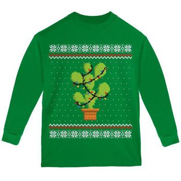 DCCKU3R Cactus Prickly Pear Tree Ugly Christmas Sweater Youth Long Sleeve T Shirt