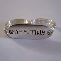 Destiny Two Finger Ring Silver Wire Wrapped Size 7 and 8