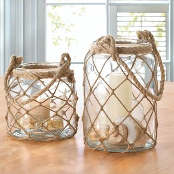 Fish Net Covered Glass Candle Jars