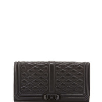 Love Quilted Turn-Lock Clutch Bag, Black - Rebecca Minkoff