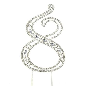 Metal Number Rhinestone Cake Topper, Silver, 3-3/4-Inch, Number 8