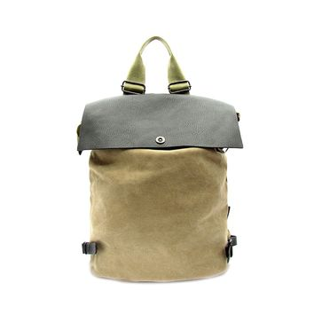 Vegan Leather and Canvas Backpack by Le Chic