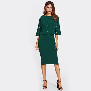 Pearl Embellished Emerald Green Two Piece Suit