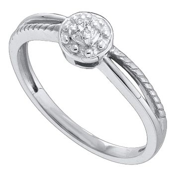 10kt White Gold Women's Round Diamond Solitaire Promise Bridal Ring 1/20 Cttw - FREE Shipping (US/CAN)