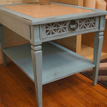 Turquoise Side Table / Accent Table / Painted / Shabby Chic / Upcycled / Repurposed / Distressed / End Table / Cottage Chic /