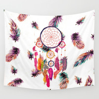 Hipster Watercolor Dreamcatcher Feathers Pattern Wall Tapestry by Girly Trend