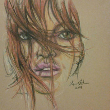 Original Artwork, Colored Pencil Art, Female Artwork, 11x13, Bedroom Art, Red Hair, Pink Lips, Green Eyes